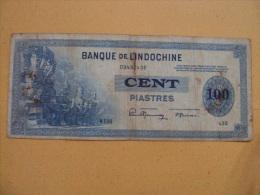 Indochine Indochina Vietnam Viet Nam VF 100 Piastres Banknote 1941 - Pick#78/ 02 Images - Indochina