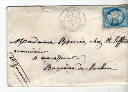 Paris Etoile 15+cachet 1530 R. BONAPARTE Ceres 25c Bleu N°60 I, 1 Aout 874 - 1849-1876: Période Classique