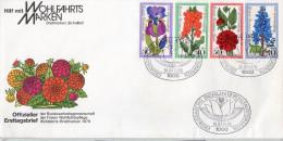 Enveloppe avec cachet PJ    -s�rie  n� 488 � 491  -  fleurs de jardin    -BERLIN