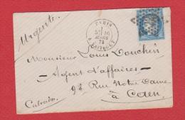 Enveloppe De Paris ---   Pour Caen  ---  16 Mars 1873   --   Cachet étoile N 22 - Marcophilie (Lettres)