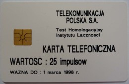 POLAND - Test - 82P - 1500ex - KARTA TELEFONICZNA - 25 Units -  Mint - Polonia