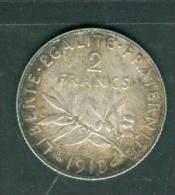 piece argent silver, 2 francs  semeuse ann�e 1915  - pia10502