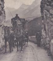 OUDE POSTKAART ZWITSERLAND SCHWEIZ   SUISSE  SVIZZERA   1908 BUNDNER POST POSTKOETS OMGEVING SCHULS TARASP - GR Grisons