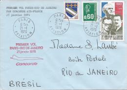 Premier Vol Paris - Rio De Janeiro Le 21 Janvier 1976 Par Concorde - Marcophilie (Lettres)