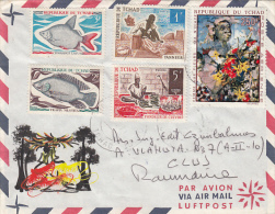 FISH, WORKERS, PAINTING, STAMPS ON COVER, 1971, CHAD - Chad (1960-...)