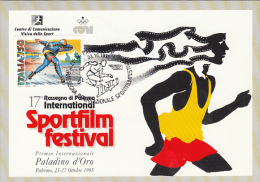 PALERMO MOVIE AND SPORTS FESTIVAL, ATHLETICS, CM, MAXICARD, CARTES MAXIMUM, SPEED SKATING STAMP, 1995, ITALY - Cinéma