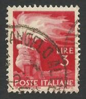 Italy, 3 L. 1945, Sc # 471, Mi # 692, Used - 5. 1944-46 Lieutenance & Umberto II
