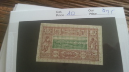 LOT 251261 TIMBRE DE COLONIE SOMALIS  NEUF* N�10 VALEUR 25 EUROS