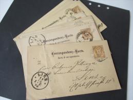 Österreich Ganzsachen Ausgabe 1883 Fingerhut Stempel Usw. 12 Stück! Wohlgeboren, Korrespondenz An Eine Frau In Linz - Entiers Postaux