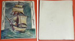 Calendrier almanach publicitaire, 1970, illustration bateau voilier par MATEJA, Aux 2 Selliers Montargis, Loiret 45 cuir