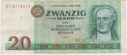 Banknote Geldschein DDR Staatsbank 20 Mark 1975 HT 0716511 7 - Stellig Ro. 362 Billet GDR - [ 6] 1949-1990: DDR - Duitse Dem. Rep.