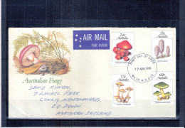 FDC Australie voyag� vers Northern Ireland - Champignons - S�rie compl�te (� voir)