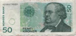 Banknote Geldschein NORGE Norwegen Norway 50 Femti Kroner Kronen 1996 4200679889 Norges Bank Asbjornsen - Noorwegen
