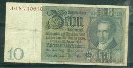 Billet 10 REICHSMARK  - Année 1929    -  J.18740610    Laubil1801 - [ 4] 1933-1945 : Third Reich