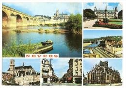 Nevers (58)  Cathedrale-palais Ducal-avenue General De Gaulle-entree Du Pont De Loire Et Tour Gauguin(2scann) - Nevers