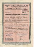 Action Allemande : Zentraleuropaische Versicherungs Aktiengesellschaft - Feuerversicherungsschein 1942 - Banque & Assurance