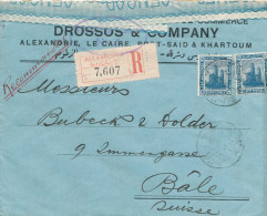 EGYPTE EGYPT WWI CENSORSHIP - Registered Cover ALEXANDRIA 1916 To BALE - Censor 4 Type 1  -- EB 020 - Égypte