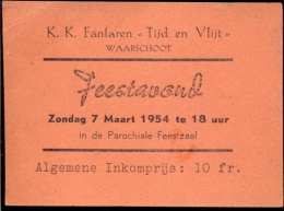 Toegangskaart Feestavond Fanfare Waarschoot 1954 - Tickets - Entradas