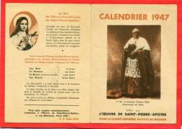 CALENDRIER 1947 L OEUVRE DE SAINT PIERRE APOTRE CARDINAL THOMAS TIEN ARCHEVEQUE DE PEKIN - Klein Formaat: 1941-60