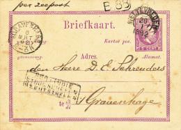 EB29 - NETHERLANDS INDIES Maritime Card WELTEVREDEN 1892 - NED INDIE STOOMSCHEPEN RECHTSTREEKS - Indes Néerlandaises