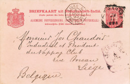 EB31 - NETHERLANDS INDIES 2 Maritime Cards 1893/1902 - French Ships LIGNE N Cancels - Indes Néerlandaises