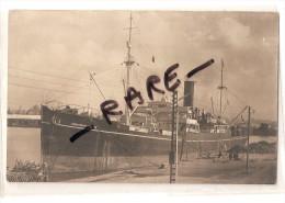 Carte Photo Paquebot Commandant Dorise En 1951 Des Messageries Maritimes , Signature Du Capitaine - Steamers