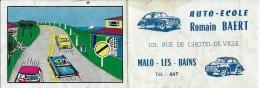 Calendrier auto �cole Romain BAERT- Malo les Bains - 1960