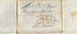 Año 1825 Prefilatelia Envuelta  De Olot A Barcelona Y Reutilizada De Barcelona A Constanti RARISIMA - ...-1850 Voorfilatelie