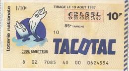 15634- LOTTERY TICKET, DOLPHINS, 1987, FRANCE - Biglietti Della Lotteria