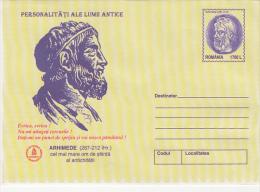 15663- ARCHIMEDES, ANCIENT SCIENTIST, COVER STATIONERY, 2000, ROMANIA - Célébrités
