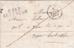 """1831 MP 42x11 """" P.24.P. BESANÇON """" Doubs + Dateur Sur Lettre > VEYNES Hautes Alpes - Port Payé - Marcofilia (sobres)"""
