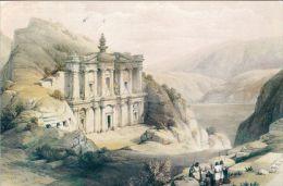 1 AK Jordanien * Tempel Ed-Deir In Der Antiken Stadt Petra - Druck Nach Einem Gemälde Von David Roberts Von 1839 - Jordanien