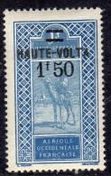Haute Volta  N ° 37 X  1 F. 50 Sur 1 F. Bleu Et Outremer Trace De  Charnière Sinon TB