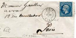 MILLY Seine Et Oise CAD Type 15 Du 23.11.1863 + GC 2361 Sur 20 C Empire + OR Origine Rurale -sans Texte........... G - Marcophilie (Lettres)