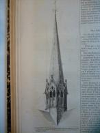 Ancienne Fléche Du Transept De Notre Dame De Paris , Détuite En 1793 , Gravure Dupré 1859 Avec Texte - Estampes & Gravures