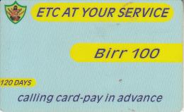 ETHIOPIA - ETC Prepaid Card 100 Birr, Exp.date 01/10/05, Used