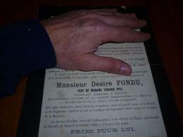 LC113  Lettre de mort D�sir� FONDU RYEZ ex conseiller communal Seneffe  comptable charbonnages Bascoup DETRAUX 1890