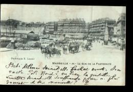 13 MARSEILLE Port, Quai De La Fraternité, Attelages, Omnibus, Ed Lacour 30, 1901, Dos 1900 - Vieux Port, Saint Victor, Le Panier