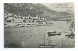 CPA Monaco Monté Carlo Et Le Port De La Condamine 1913 Port Simple Gratuit Free WW Postage - Harbor