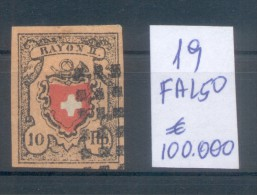 FALSCH FALKST FALSO - SUISSE YVERT NR. 19 OBLITERE  - FAKE OF FOURNIER - 1843-1852 Kantonalmarken Und Bundesmarken