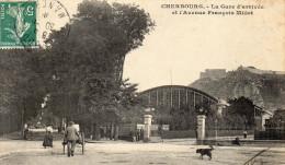Cherbourg:  La Gare D´arrivée Et L´Avenue Francois Millet - Cherbourg
