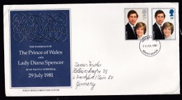 UK: Circulated FDC First Day Cover To Germany, 1981, Royal Wedding Prince Charles & Lady Diana (creases) - 1952-.... (Elizabeth II)