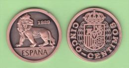 SPAIN/ESPAGNE/ESPAÑA  Alfonso XIII 5 Céntimos  1.929 (tipo 1) Cy 17584  Copy  Cobre  SC/UNC  T-DL-11.268 C - [ 1] …-1931 : Royaume