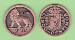 SPANJE / ESPAÑA  Alfonso XIII 5 Céntimos  1.929 (tipo 1) Cy 17584  Copy  Cobre  SC/UNC  T-DL-11.268 Holan. - [ 1] …-1931 : Koninkrijk