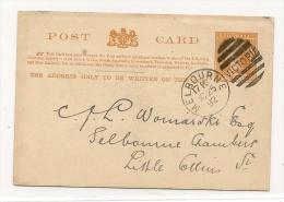 Post Card One Penny Victoria GA + Zudruck Balaclava Social Club  Melbourne 25.10.1892 (4823) - 1850-1912 Victoria
