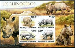 BURUNDI 2011 MNH Imperf SS, Rhino, Wild Animals - Rhinozerosse