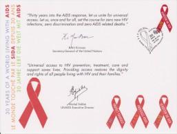 United Nations Special Card With Mi 721 AIDS Cancellation Vienna - 2011 - Centre International De Vienne