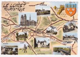 """Carte Illustrée """"Le Loiret Touristique"""" Avec 9 Vues Posées Sur La Carte Du Loiret Et Blason - Circulé 1962 Sous Envelopp - Landkarten"""