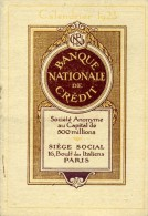 Petit Calendrier - 1923 - BANQUE NATIONALE De CREDIT - - Calendars