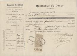 69  -  LYON -  Quittance De Loyer  -  Timbre 10 C  -  Régisseur D´immeubles JOANNES MENARD - 1911 - Francia